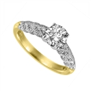Image for Knife Edge Leaf Motif Round Diamond Vintage Ring