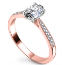 Image for Elegant Oval Diamond Milgrain Shoulder Set Ring