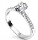 Elegant Oval Diamond Milgrain Shoulder Set Ring