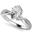Modern Intertwined Pear Diamond Engagement Ring