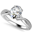 Modern Intertwined Oval Diamond Engagement Ring