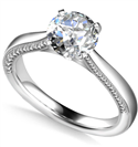 Engraved Cathedral Round Diamond Engagement Ring