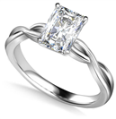 Infinity Love Swirl Radiant Diamond Engagement Ring
