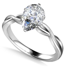 Infinity Love Swirl Pear Diamond Engagement Ring