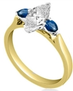 Image for Marquise Diamond & Blue Sapphire Trilogy Ring