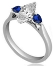 Marquise Diamond & Blue Sapphire Trilogy Ring