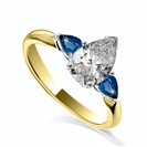 Image for Pear Diamond & Blue Sapphire Trilogy Ring