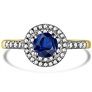 Image for Round Blue Sapphire & Diamond Halo Ring