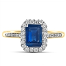 Image for Emerald Blue Sapphire & Diamond Halo Ring
