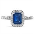 Emerald Blue Sapphire & Diamond Halo Ring