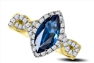 Image for Marquise Blue Sapphire & Diamond Halo Ring