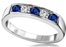 Image for 5 Stone Blue Sapphire & Diamond Eternity Ring