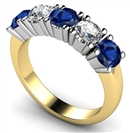 Image for 5 Stone Diamond & Blue Sapphire Half Eternity Ring