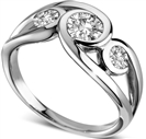 0.50CT Modern Round Diamond Bubble Trilogy Dress Ring