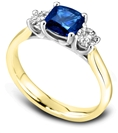 Image for Modern Cushion Diamond & Blue Sapphire Trilogy Ring