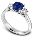 Image for Modern Blue Cushion Sapphire Trilogy Ring