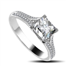 Image for Elegant Princess Diamond Split Shoulder Set Ring