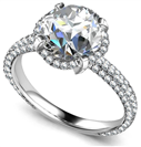 Image for Diamond Collar Single Halo Engagement Ring