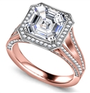 Image for Asscher Diamond Single Halo Vintage Ring