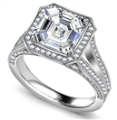 Asscher Diamond Single Halo Vintage Ring