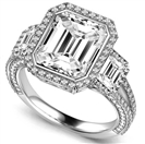 Image for Emerald Diamond Split Shoulder Set Ring