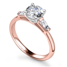 Image for Stylish Round & Baguette Diamond Trilogy Ring