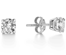 Image for Squared Claw Round Diamond Designer Earrings