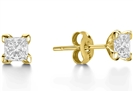 Image for Four Corner Claw Princess Diamond Earrings