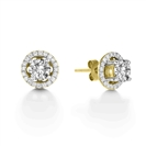 Image for Round Diamond Single Halo Earrings