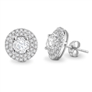 Round Diamond Double Halo Earrings