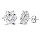 Round Diamond Flower Cluster Earrings