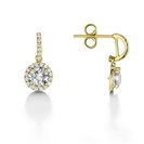 Image for Elegant Round Diamond Single Halo Earrings