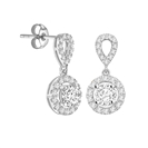Elegant Round Diamond Single Halo Earrings