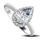 Pear & Round Diamond Halo Ring