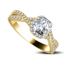 Image for Infinity Twist Cushion Diamond Vintage Engagement Ring