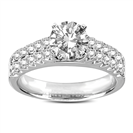 Double Row Round Diamond Engagement Ring