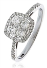 0.60CT Modern Round Diamond Halo Cluster Ring