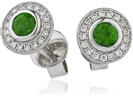 Round Emerald & Diamond Cluster Earrings