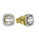 Image for Round & Baguette Diamond Cluster Earrings