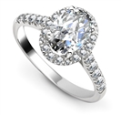 Oval Diamond Single Halo Shoulder Set Ring
