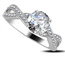 Infinity Twist Round Diamond Engagement Ring