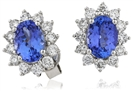 Image for Blue Tanzanite & Diamond Cluster Earrings