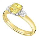 Image for Yellow Cushion Diamond Trilogy Ring