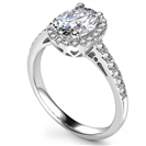 Image for Unique Oval Diamond Single Halo Shoulder Set Ring