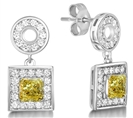 Fancy Yellow Cushion Diamond Halo Earrings
