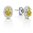 Image for Fancy Yellow Oval Diamond Halo Earrings