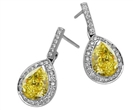 Image for Fancy Yellow Pear Diamond Halo Earrings