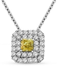 Image for Fancy Yellow Cushion Diamond Halo Pendant