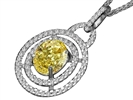 Image for Fancy Yellow Oval Diamond Halo Pendant