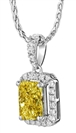 Fancy Yellow Radiant Diamond Halo Pendant